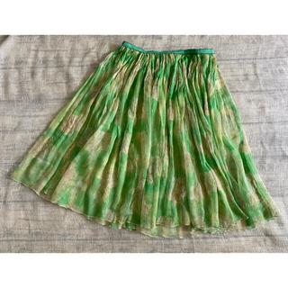 ツモリチサト(TSUMORI CHISATO)のツモリチサト  シルクのフレアスカート  シワ加工  グリーンミックス 2(ひざ丈スカート)