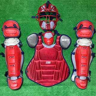 ZETT - 一般軟式野球 キャッチャー マスク プロテクター レガース 防具セット