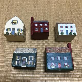 カントリー調 ミニチュアハウス 5戸セット(彫刻/オブジェ)