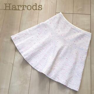 ハロッズ(Harrods)のHarrodsツィードラメフレアミニスカート ピンク2ニット春夏白赤紫コットン(ひざ丈スカート)