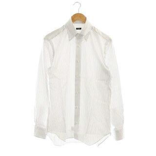 バルバ(BARBA)のバルバ ボタンダウンストライプシャツ 長袖 40 白 青 ホワイト ブルー(シャツ)