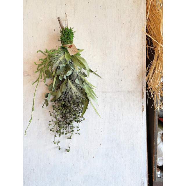 〜miss green〜ハゼの実とユーカリのグリーンスワッグ〜ドライフラワー ハンドメイドのフラワー/ガーデン(ドライフラワー)の商品写真