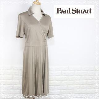 ポールスチュアート(Paul Stuart)のポールスチュアート  半袖 ワンピース ロング ベージュ系 8 L(ひざ丈ワンピース)