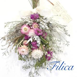 香り立つピンクスワッグ ネイティブフラワー綿のような白い花フィリカロック(ドライフラワー)