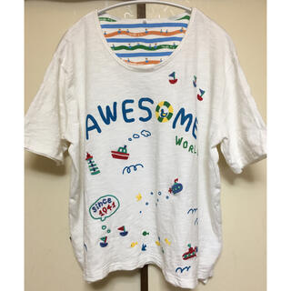rough - rough ラフ awesome world  マリン刺繍Tシャツ