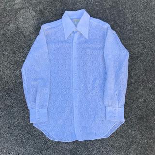Flower pattern lace shirt 70's vintage(シャツ)