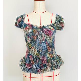 ダブルスタンダードクロージング(DOUBLE STANDARD CLOTHING)のDSC コルセット風ツイードブラウス マルチカラー ほぼ新品 (シャツ/ブラウス(半袖/袖なし))