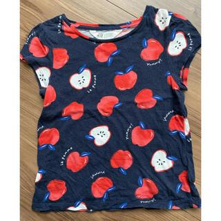 エイチアンドエム(H&M)のH&M 総りんご柄 Tシャツ ネイビー(Tシャツ/カットソー)
