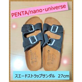 ナノユニバース(nano・universe)のPENTA/別注スエードストラップサンダル ナノ・ユニバース 黒 サイズ:42(サンダル)