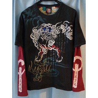 カラクリタマシイ(絡繰魂)の酒楽 SHARAKU 刺繍 Tシャツ 和柄 Mサイズ(Tシャツ/カットソー(半袖/袖なし))