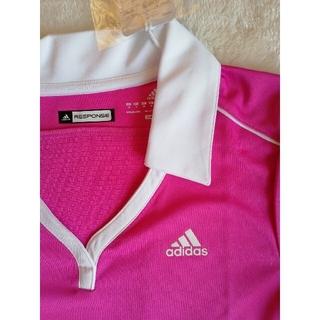 アディダス(adidas)のアディダス スポーツウェア ピンク 襟つき 夏 レディース 白 adidas(ウェア)