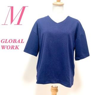 グローバルワーク(GLOBAL WORK)のGLOBAL WORK グローバルワーク 五分袖 vネック カットソー ネイビー(カットソー(半袖/袖なし))