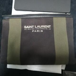 サンローラン(Saint Laurent)のSAINT LAURENT キャンバス生地 クラッチバッグ ブラック×カーキ(セカンドバッグ/クラッチバッグ)