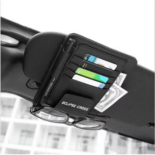 三菱エクリプスクロス サンバイザー カード ペン サングラスホルダー 白文字ロゴ(車内アクセサリ)