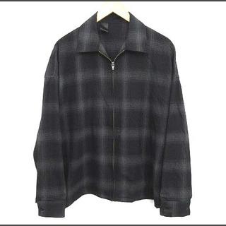 エヌハリウッド(N.HOOLYWOOD)のミスターハリウッド ジップフロントシャツ チェック ジップアップ 38 黒(シャツ)