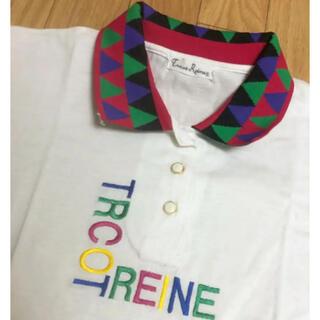 エックスガール(X-girl)のTRCOT REINE カラフル刺繍 ニット襟Tシャツ ポロシャツ PINNAP(ポロシャツ)
