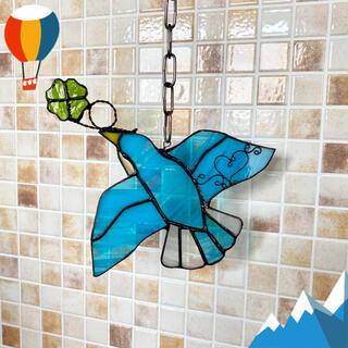 新作 ステンドグラス  青い鳥&クローバー 飾り(インテリア雑貨)