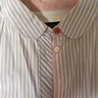 ポールスミス(Paul Smith)のポールスミス 半袖ブラウス 丸襟パープルストライプ(シャツ/ブラウス(半袖/袖なし))