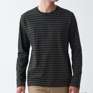 ムジルシリョウヒン(MUJI (無印良品))のMUJI 無印良品 クルーネック長袖Tシャツ  紳士・S(Tシャツ/カットソー(七分/長袖))