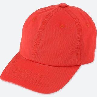 ユニクロ(UNIQLO)の新品 ユニクロ キャップ 帽子 メンズ コットン100%綿 赤レッド  6パネル(キャップ)
