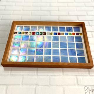 ガラスモザイクタイルの爽やかトレー...♪*゚(水色)(インテリア雑貨)