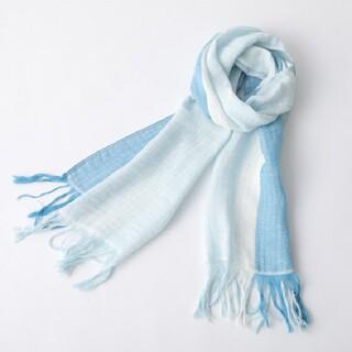 イマバリタオル(今治タオル)の今治タオル ラインカラーマフラー 青×水色 ショール(マフラー/ショール)