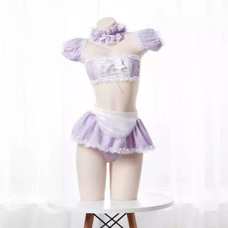 ゆめかわ シュガーハニー メイド セクシー コスプレ 紫(衣装一式)