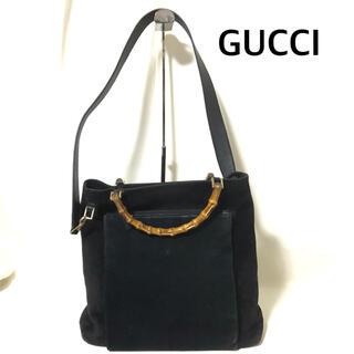 グッチ(Gucci)のGUCCI ショルダーバッグ スウェード 黒 バンブー オールドグッチ(ショルダーバッグ)