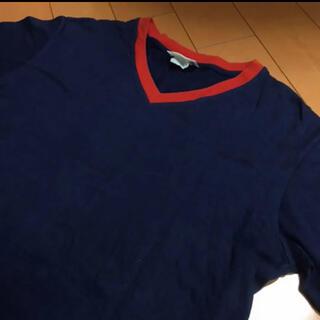 アニエスベー(agnes b.)のアニエス・ベーネイビー✖️レッドコットンVネックT(Tシャツ/カットソー(半袖/袖なし))