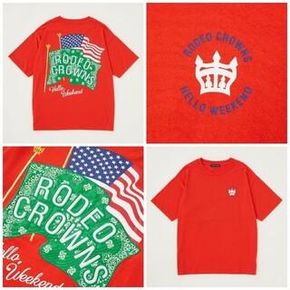 ロデオクラウンズワイドボウル(RODEO CROWNS WIDE BOWL)のRCWB*バンダナ フラッグ Tシャツ(Tシャツ/カットソー(半袖/袖なし))