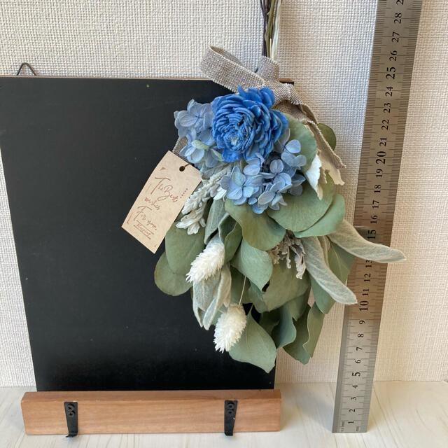 No.246  ブラックボード&シンプルスワッグ ブルー ドライフラワー ハンドメイドのフラワー/ガーデン(ドライフラワー)の商品写真