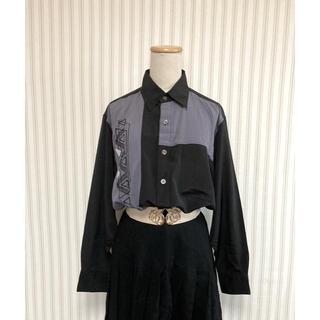 古着 ヴィンテージ   刺繍 オーバーサイズ ポリシャツ  総柄シャツ レトロ(シャツ)