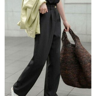 chuclla   セミワイド カラースラックス  パンツ  ブラック  S(カジュアルパンツ)