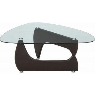 新品 本土送料無料 ガラスセンターテーブル ルーク ウォルナット(ローテーブル)