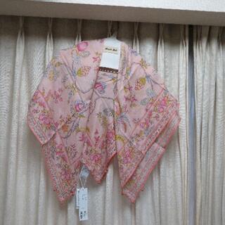 ロンハーマン(Ron Herman)の新品¥1,1万 ハウスオブロータス ピンク系フルーツ柄 綿絹四角ストール(ストール/パシュミナ)