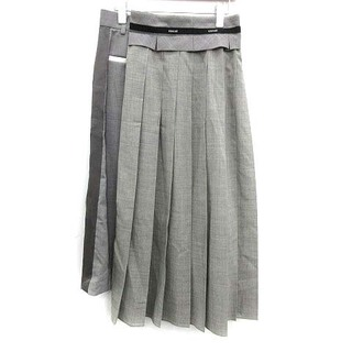 サカイ(sacai)のサカイ 21SS ラップスカート プリーツ ロング アシンメトリー 2 グレー(ロングスカート)