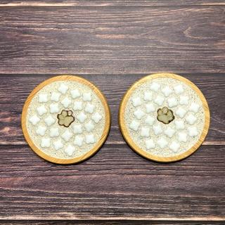 コースター2枚セット...♪プチflower❀&陶手作り肉球🐾໊ワンポイント(キッチン小物)