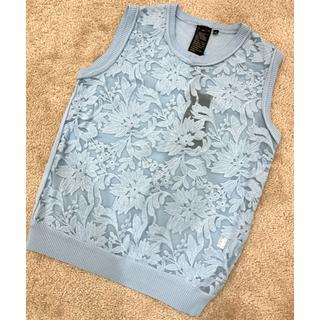 ダブルスタンダードクロージング(DOUBLE STANDARD CLOTHING)の限定色💙新品 DOUBLESTANDARDCLOTHING 刺繍ノースリーブ(シャツ/ブラウス(半袖/袖なし))