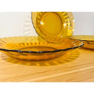 アンバー ガラス皿 3枚セット(食器)