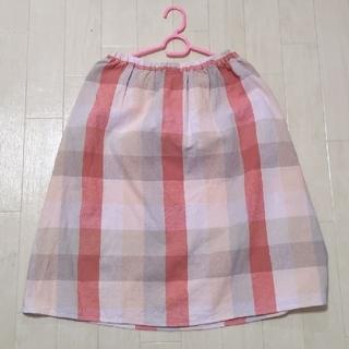 サマンサモスモス(SM2)のSamansa Mos2(サマンサモスモス)綿麻ブロックチェックギャザースカート(ひざ丈スカート)