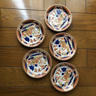 ニッコー(NIKKO)のニッコー ダブルフェニックス ソーサー5枚セット 錦山水 ネイビー オレンジ 鳥(食器)