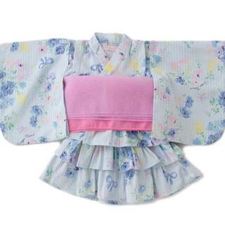 メゾピアノ(mezzo piano)のメゾピアノ ストライプ花柄浴衣ドレス(甚平/浴衣)