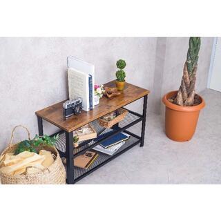 【送料無料】【新品】ローテーブル 二段棚付き 木目調 組立簡単(ローテーブル)