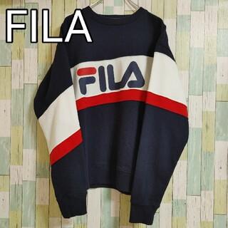 フィラ(FILA)のFILA フィラ ビッグロゴ 刺繍 スウェット 紺 ネイビー Mサイズ(スウェット)