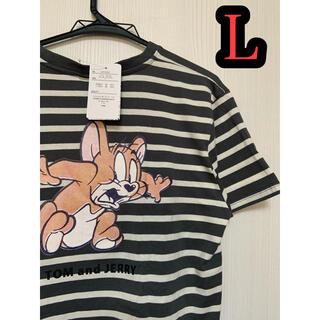 トムとジェリー Tシャツ Lサイズ コミック柄  Tシャツ  ボーダー(Tシャツ(半袖/袖なし))