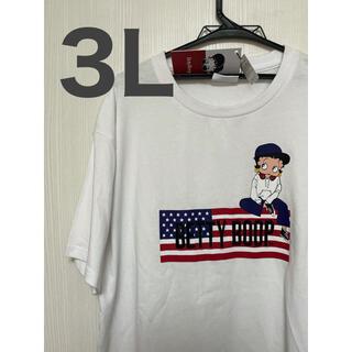ベティ 3Lサイズ ベティブープ Tシャツ ホワイト 国旗(Tシャツ/カットソー(半袖/袖なし))