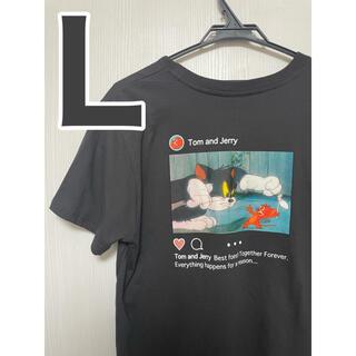 トムとジェリー Tシャツ Lサイズ 男女兼用 Tシャツ 半袖 ブラック グレー(Tシャツ(半袖/袖なし))