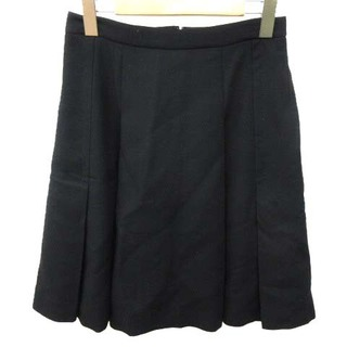 ハロッズ(Harrods)のハロッズ スカート ひざ丈 フレアー ジップ ウール 1 S 黒 ブラック(ひざ丈スカート)
