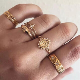 アリシアスタン(ALEXIA STAM)の感謝品 ◇マリア様 ゴールド シンプル リング 7個セット◇(リング(指輪))