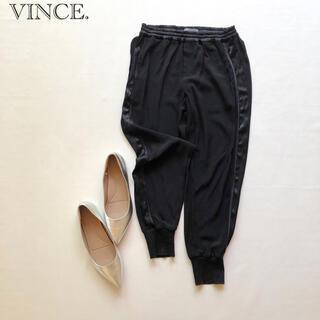 Vince - 700ヴィンス ウエストゴム楽チンとろみジョガーサテンパンツ 黒XS